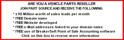 Part Source - We supply information on vehicle spares and rebuilds found at scrapyards in South Africa.